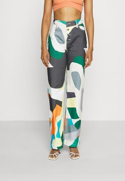 Jaded London - HIGH WAIST BOYFRIEND ABSTRACT ART PRINT - Jeans relaxed fit - multi
