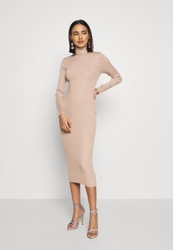 Missguided - ROLL NECK MIDI DRESS - Vestido de tubo - camel