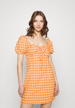 Glamorous - MINI DRESS WITH PUFF SHORT SLEEVES AND LOW SWEETHEART NECKLINE - Freizeitkleid - rust gingham