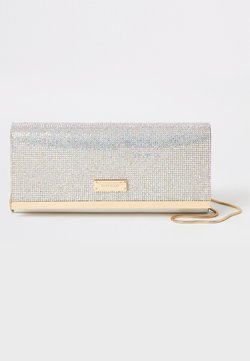 River Island - SILVER DIAMANTE CLUTCH BAG - Kuvertväska - grey