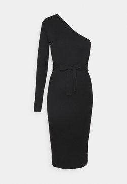 Missguided - ONE SHOULDER BELTED MIDI DRESS - Vestido de punto - black