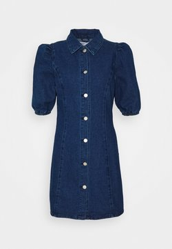 Glamorous Petite - FITTED MINI DRESS WITH COLLAR AND PUFF 1/2 SLEEVES - Robe en jean - dark wash