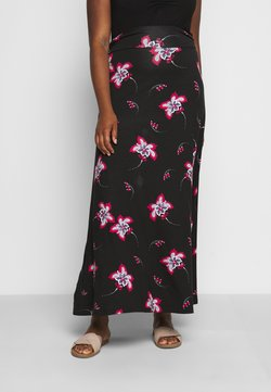 CAPSULE by Simply Be - PRINT SKIRT - Maxirock - black/burg