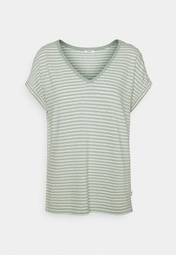 Marc O'Polo DENIM - SHORT SLEEVE WIDE BODYSHAPE VNECK - T-Shirt print - mint