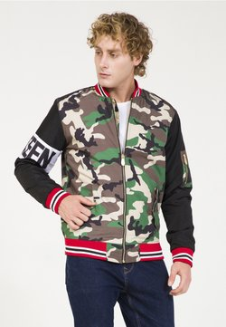 PLUS EIGHTEEN - MIT CAMOUFLAGE-PRINT - Giubbotto Bomber - black