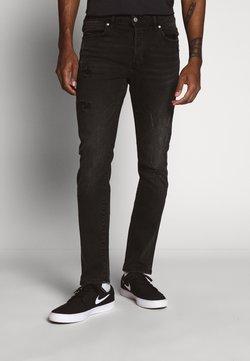 Topman - DAMAGE - Slim fit jeans - washed black