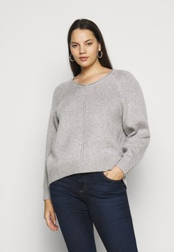 Selected Femme Curve - SLFPOLLY  V-NECK - Trui - light grey