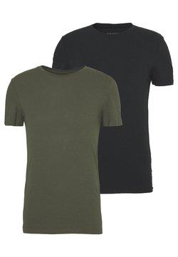 Pier One - 2 PACK - Camiseta básica - oliv/black