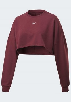 Reebok - STUDIO MATERNITY CROPPED LONG SLEEVE TOP - Sudadera - burgundy