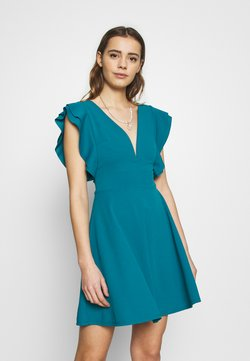 WAL G. - RUFFLE SLEEVE MINI DRESS - Cocktailkleid/festliches Kleid - teal