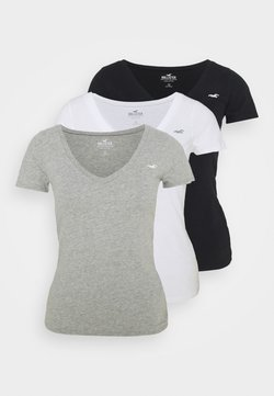 Hollister Co. - SLIM 3 PACK - T-Shirt print - white/grey/black
