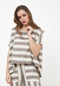 Madam-T - SHARON - T-Shirt print - hellbraun, weiß