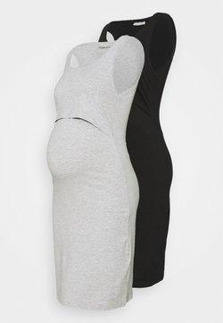 Anna Field MAMA - NURSING - 2 PACK - Jersey dress - Trikoomekko - black/light grey