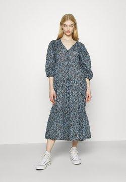 Cotton On - KAIA BUTTON THROUGH DRESS - Blusenkleid - black/dusk blue