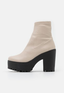 Topshop - SOCK BOOT - Enkellaarsjes met plateauzool - off white