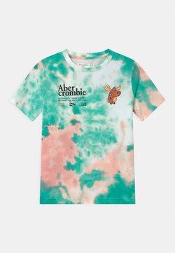 Abercrombie & Fitch - T-shirt z nadrukiem - green/pink