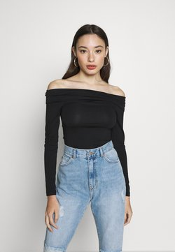 Vero Moda Petite - VMPANDA OFF SHOULDER TOP VIP  - Langarmshirt - black