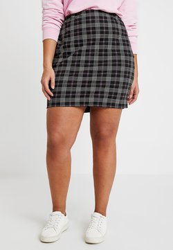 New Look Curves - LORI CHECK TUBE SKIRT - Minihame - black