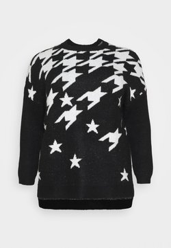 CAPSULE by Simply Be - COSY BOYFRIEND HOUNDSTOOTH STAR JUMPER - Jersey de punto - black/ivory