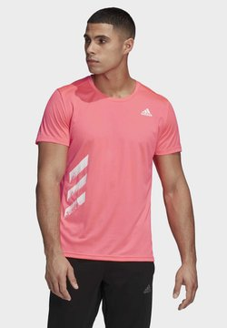 adidas Performance - RUN IT 3-STRIPES PB T-SHIRT - Camiseta estampada - pink