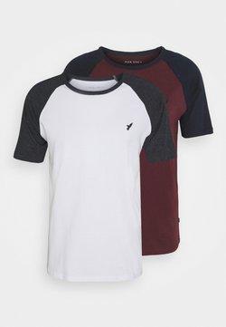 Pier One - 2 PACK - Camiseta básica - white/dark grey