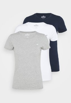 Hollister Co. - SLIM CREW 3 PACK - T-Shirt print - white/grey/navy