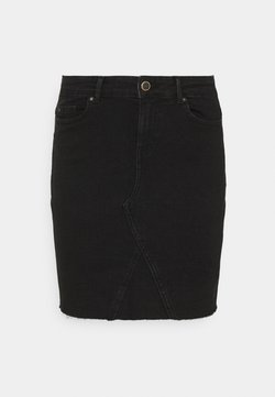 ONLY - ONLFAN SKIRT RAW EDGE - Minirock - black denim