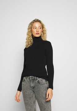 Marc O'Polo - LONGSLEEVE TURTLE NECK STRUCTURE - Strickpullover - black