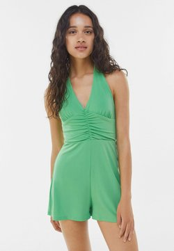 Bershka - FLOWING  WITH TIED BOW AT THE NECK  - Combinaison - green