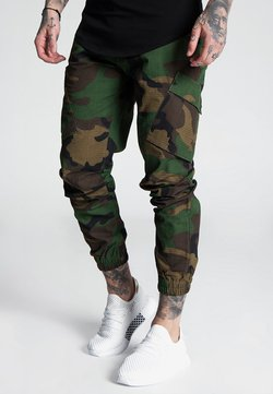 SIKSILK - FITTED CUFF PANTS - Cargohose - camo