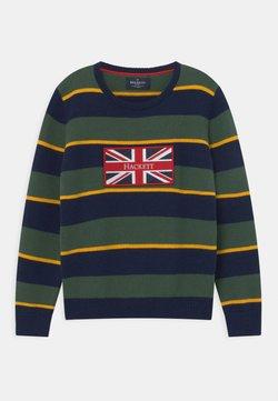 Hackett London - UNION JACK STRIPE CREW  - Stickad tröja - navy/green