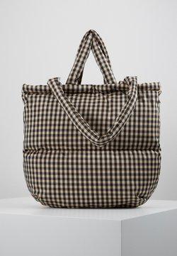 Mads Nørgaard - CHECK CLUB PILLOW - Shopping bag - black/beige
