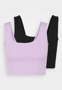 Even&Odd - SQUARE NECK CROP 2 PACK - Top - black/lilac