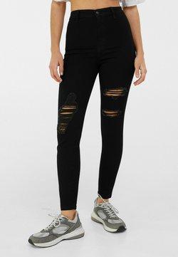 Bershka - MIT RISSEN  - Jeans Skinny - black