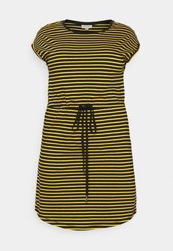 ONLY Carmakoma - CARAPRIL KNEE DRESS STRIPE - Jerseykleid - black/double yolk yellow