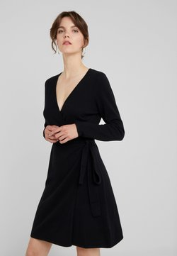 Davida Cashmere - WRAP OVER DRESS - Strickkleid - black