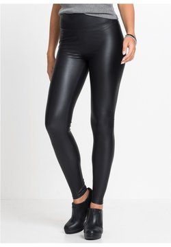 bonprix - Pantalon en cuir - schwarz