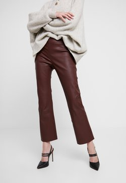 InWear - CEDAR PANT - Leather trousers - bitter chocolate