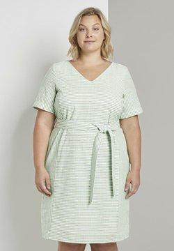 MY TRUE ME TOM TAILOR - EASY SLUB STRIPE DRESS - Freizeitkleid - light green white stripe