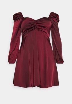 Missguided Plus - PUFF SLEEVE RUCHED FRONT SKATER DRESS - Freizeitkleid - burgundy