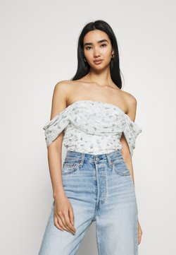 Missguided - RUCHED BARDOT CROP - T-Shirt print - white