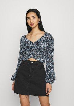 Cotton On - V NECK LONG SLEEVE - Bluse - black/dusk blue