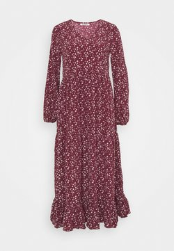Glamorous - V NECK OVERSIZED MAXI DRESS - Maxiklänning - maroon ditsy