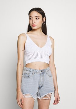 Missguided Petite - V NECK CROP - Top - white