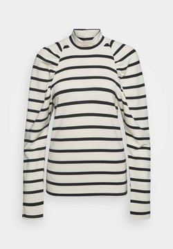 Gestuz - RIFELLA STRIPE TURTLENECK - Sweater - black/white