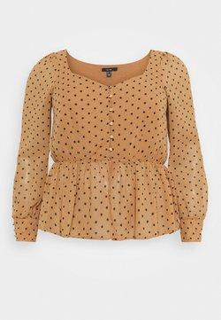 Vero Moda Curve - VMBABUSCHE BLOUSE - Bluse - black/tobacco brown dot