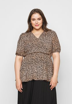 New Look Curves - SAMMIE LEOPARD PUFF SLEEVE - Bluse - pink pattern