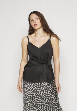 Simply Be - KNOT FRONT HAMMERED - Top - black