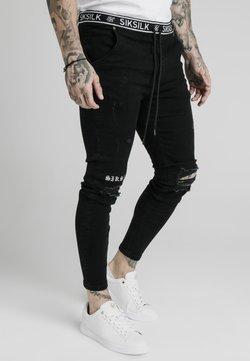 SIKSILK - ELASTICATED WAIST DISTRESSED - Jeans Skinny Fit - black