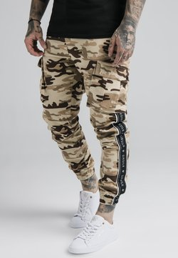 SIKSILK - FITTED TAPED CARGO - Reisitaskuhousut - desert